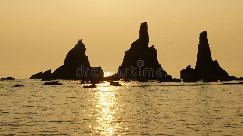 Roches de Hashigui près de Kushimoto, Japon images libres de droits