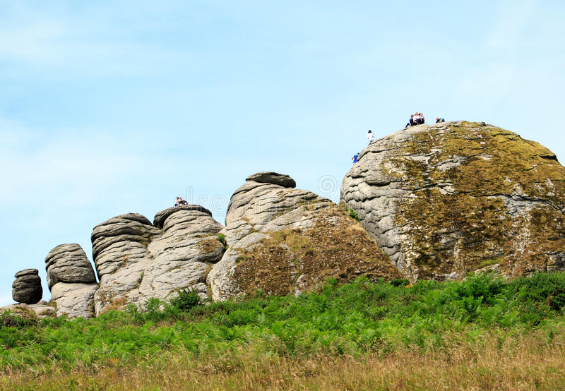 Roches de Hayton en parc national de Dartmoor, Devon, Angleterre images libres de droits