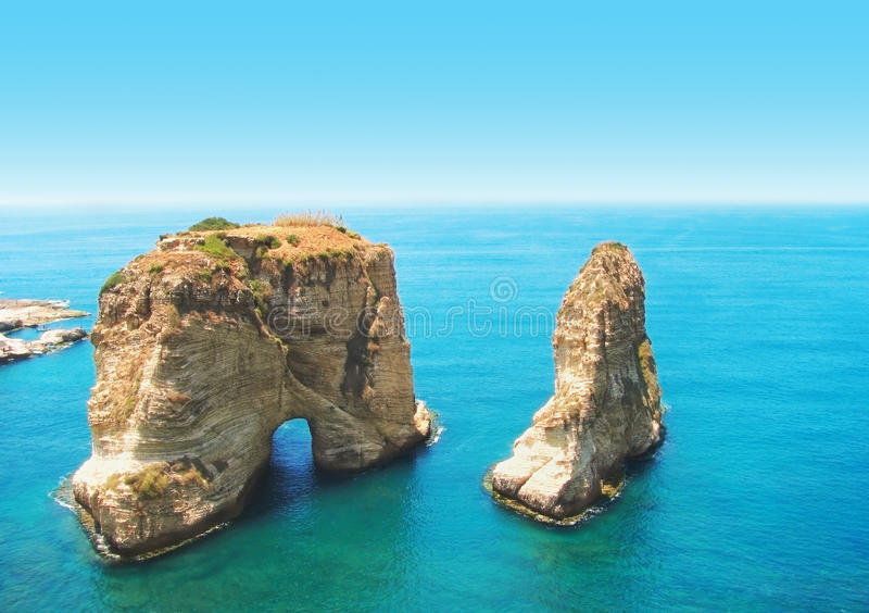 Roches de pigeon, Beyrouth, Liban photographie stock