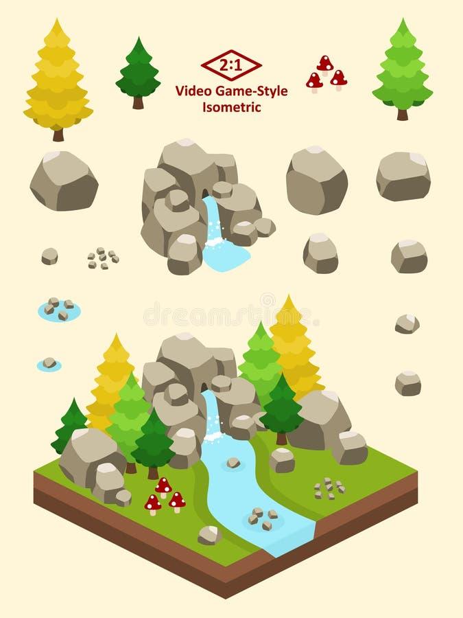 Roches simples isométriques réglées - Forest Rock Formation Autumn boréal illustration libre de droits