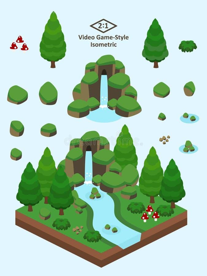 Roches simples isométriques réglées - Forest Rock Formation conifére illustration de vecteur