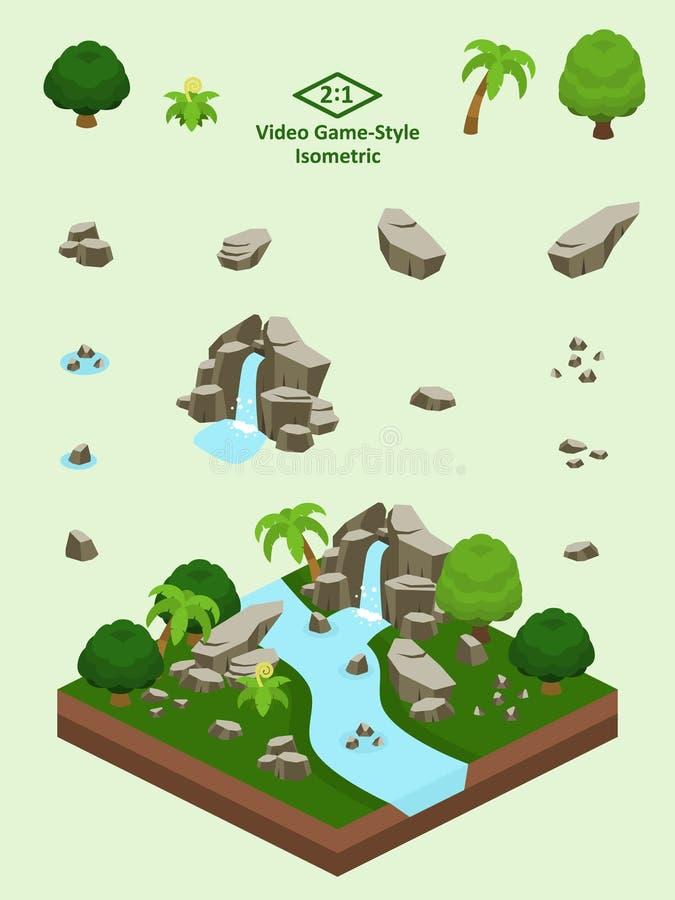 Roches simples isométriques réglées - formation de roche de forêt tropicale illustration stock