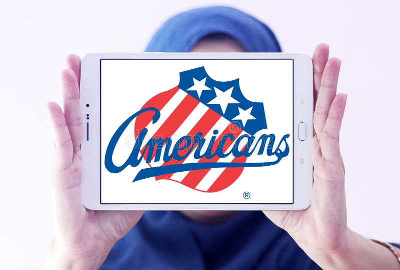Rochester Americans ice hockey team logo. Logo of Rochester Americans ice hockey team on samsung tablet holded by arab muslim woman. The Rochester Americans are royalty free stock photo