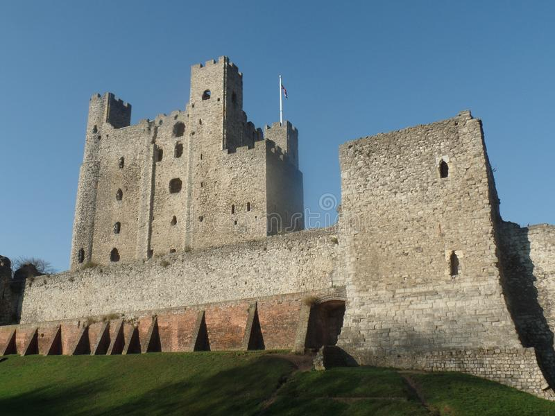 Rochester Castle, Kent, United Kingdom. On a clear and sunny day stock photos