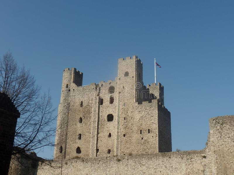 Rochester Castle, Kent, United Kingdom. On a clear and sunny day royalty free stock photo