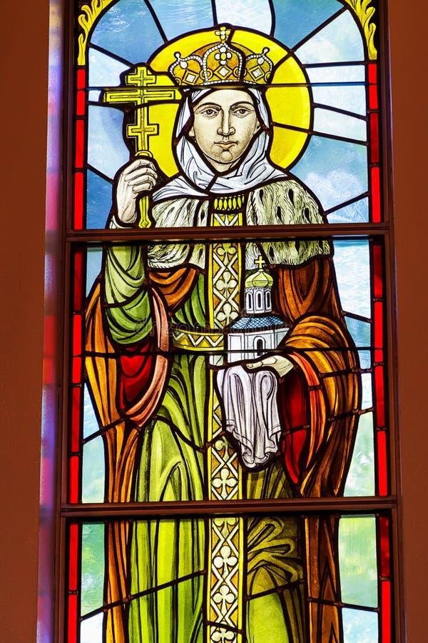 Rochester, EUA 17 de junho de 2018 Princesa Olga em uma janela de vitral Igreja Católica grega ucraniana do esmagamento fotos de stock