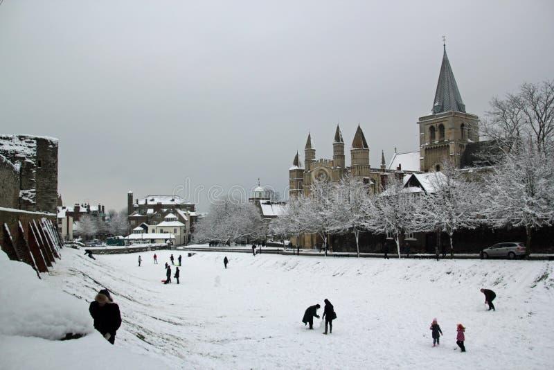 Rochester, Kent in de Winter stock afbeeldingen