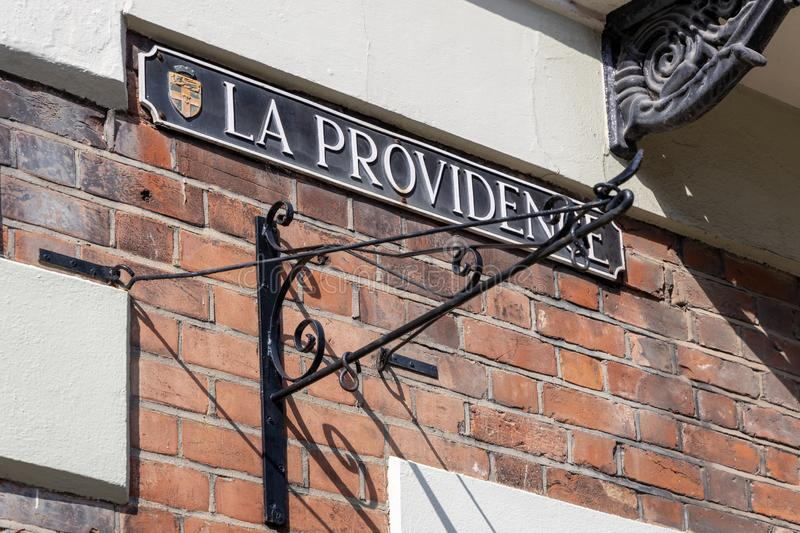 La Providence street sign at the site of the old French hospital  in Rochester on March 24, 2019 stock photography