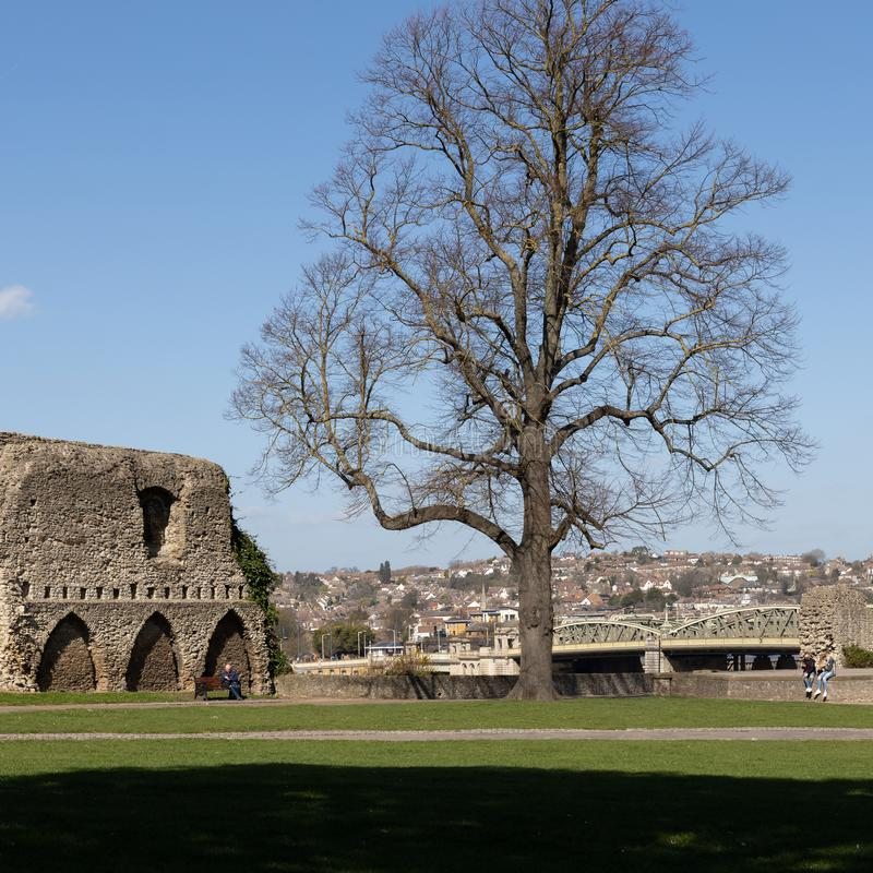 View of the Castle grounds in Rochester on March 24, 2019. Three unidentified people royalty free stock images