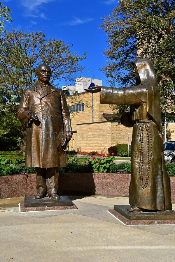 Rochester Mayo Clinic statues of William Mayo and Mother Alfred stock images