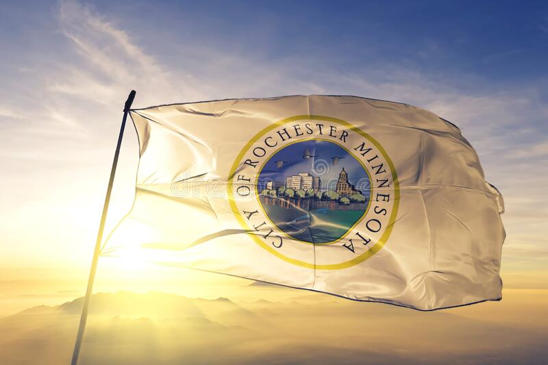 Rochester of Minnesota of United States flag waving on the top. Rochester of Minnesota of United States flag waving stock images