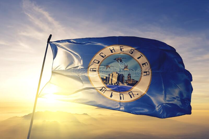 Rochester of Minnesota of United States flag waving on the top. Rochester of Minnesota of United States flag waving stock photography