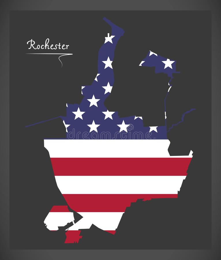 Rochester New York City map with American national flag illustration. Rochester New York City map with American national flag royalty free illustration