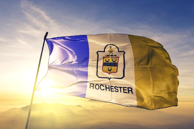 Rochester of New York of United States flag waving on the top. Rochester of New York of United States flag waving stock image