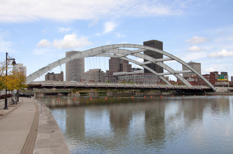 Rochester Skyline, New York, USA. Rochester Skyline and bridge, Upstate New York, USA stock photography