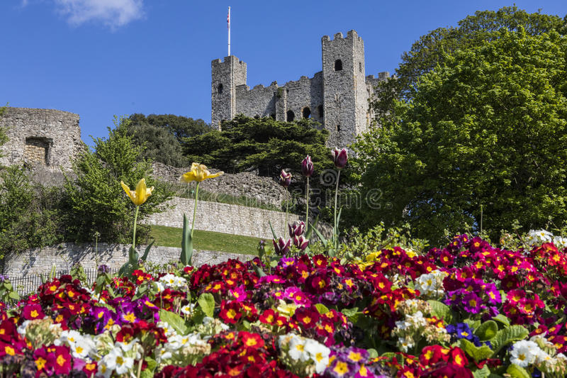 Rochester slott i Kent, UK arkivfoto