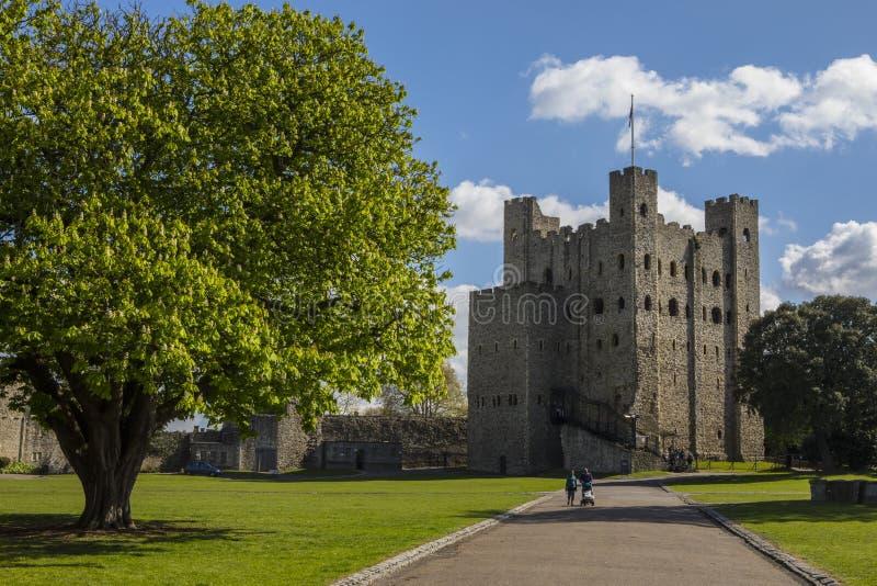 Rochester slott i Kent, UK arkivfoton
