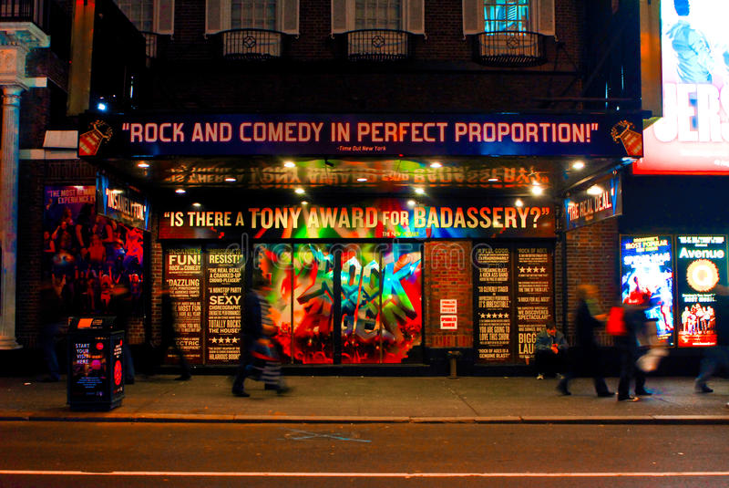 Rock of Ages Broadway Musical, Manhattan, NYC. Advertising for Broadway play Rock of Ages out fron the theater in Manhattan, NYC royalty free stock image