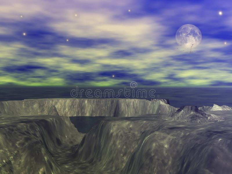 Rock altar by moon. Illustration on ancient rock alter perched on large rock structure in hazy blue setting with moon stock illustration
