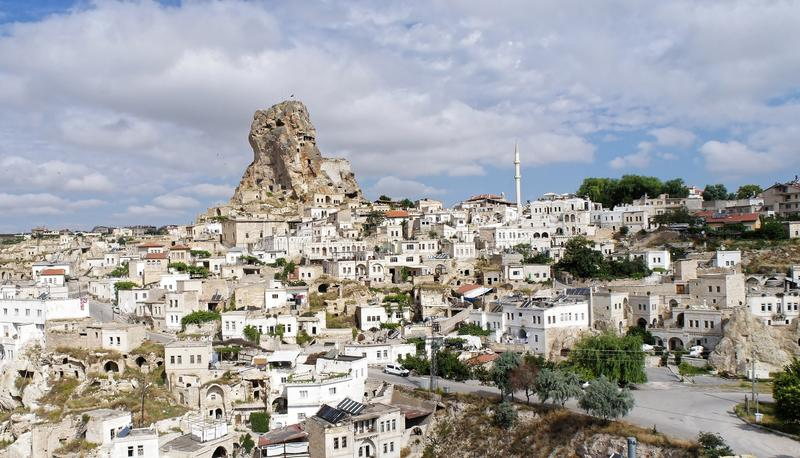 Rock apartments in a village in Cappadocia, Anatolia, Turkey royalty free stock image