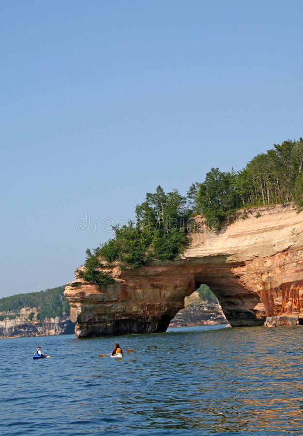 Rock arch on Great Lakes stock photos