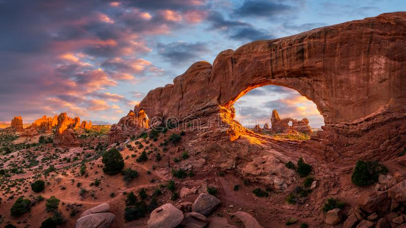 Rock arch, scenic sunset, Arches National Park stock images