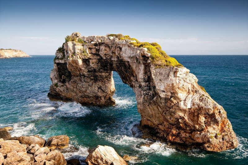 Rock arch sight es pontas majorca royalty free stock images