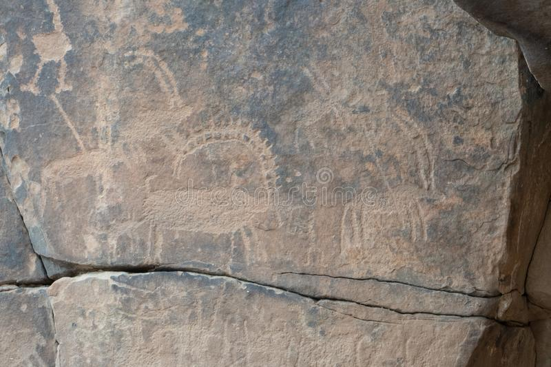 Ancient cave paintings / rock art in Ha`il Province in Saudi Arabia world heritage site stock photo