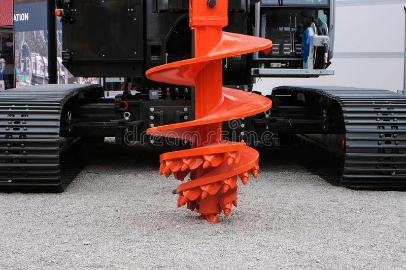 Rock auger drilling equipment for construction industry, piling machinery, piling rig. Rock auger cutter drilling equipment for construction industry, piling royalty free stock photography