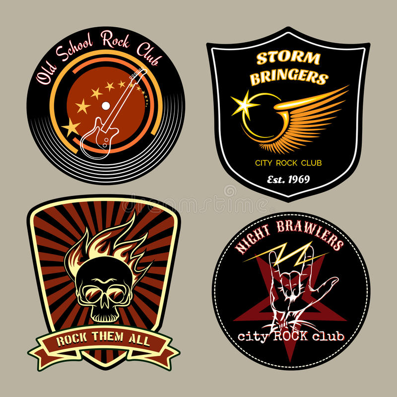 Rock badges. Vector rock badges with guitar, skull and wings signs stock illustration