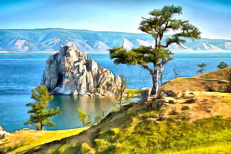 A rock in Baikal lake and a tree standing alone on the shore. Beautiful landscape of a large lake, blue sky and a lonely tree on the shore - Acrylic painting royalty free illustration