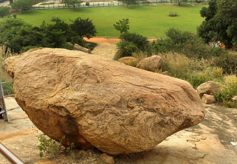 A rock ball and trees hill landscape of sittanavasal. stock photo