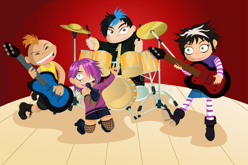 Download Rock Band Of Four Little Kids Stock Vector - Image: 18891276