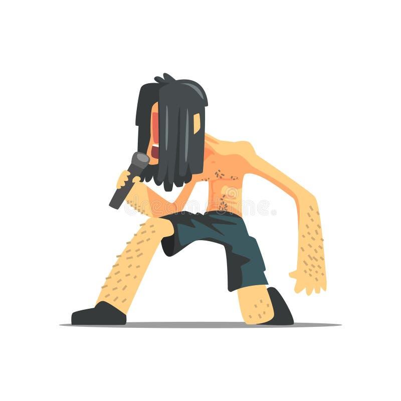 Rock Band Member för ledningssångare roligt tecken royaltyfri illustrationer