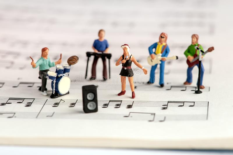 Rock band miniature people stock images