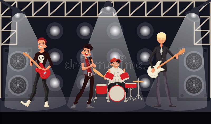 Rock band musicians perform on stage royalty free illustration