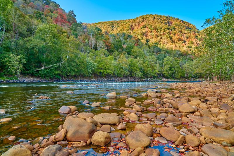 Rock bar along the New River, WV.  stock images