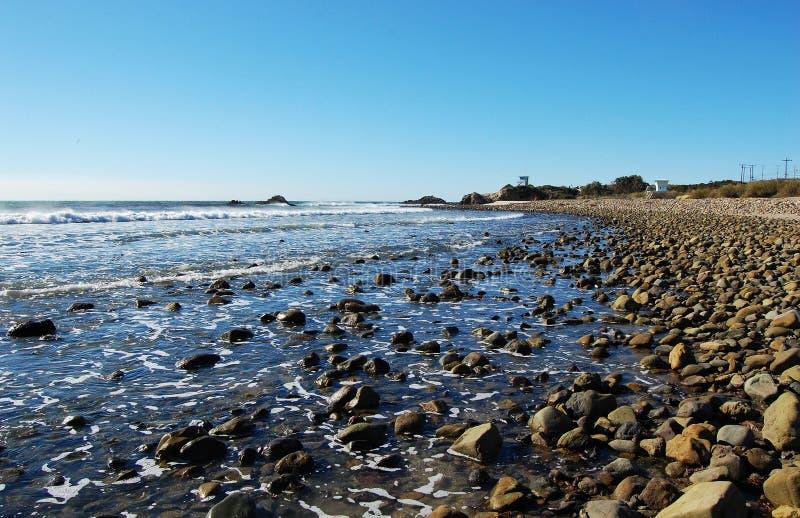 Rock Beach In Malibu, California, USA Stock Photos