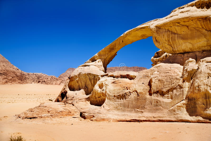 Rock bridge in Wadi Rum desert royalty free stock photo