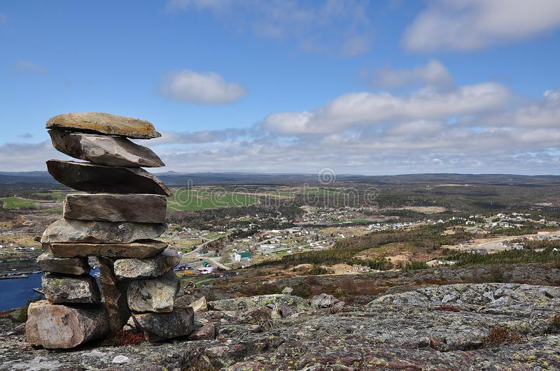 Rock cairn in Newfoundland stock photo