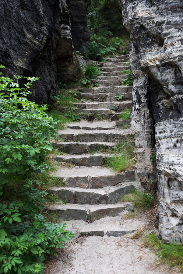Rock carved stairway stairs steps fantasy magic setting royalty free stock image