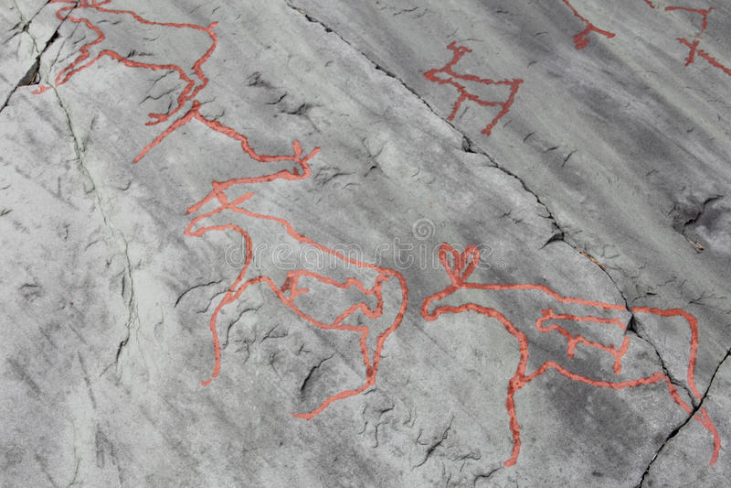 Rock carvings at Alta. Norway royalty free stock photo