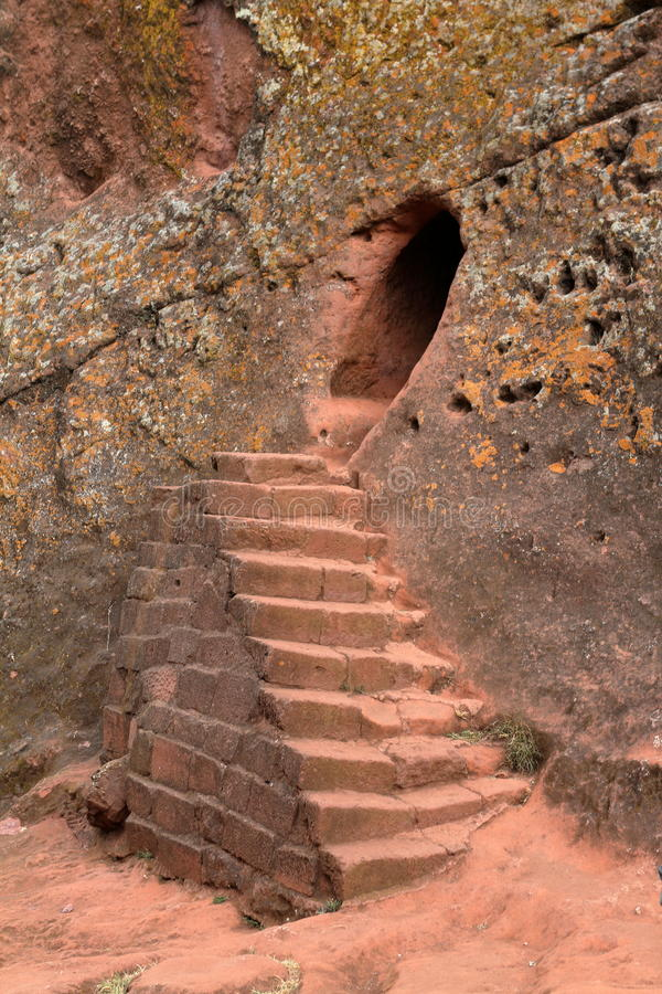 Rock carvings Churches of Lalibela in Ethiopia royalty free stock photo