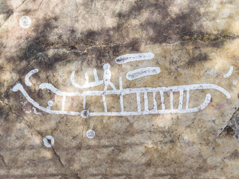 Rock carvings. Dating back about 3000 years near the town of Lidkoping, Sweden stock photography