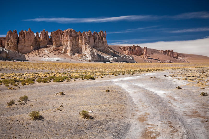 Rock cathedrals in Salar de Tara, Chile stock photography