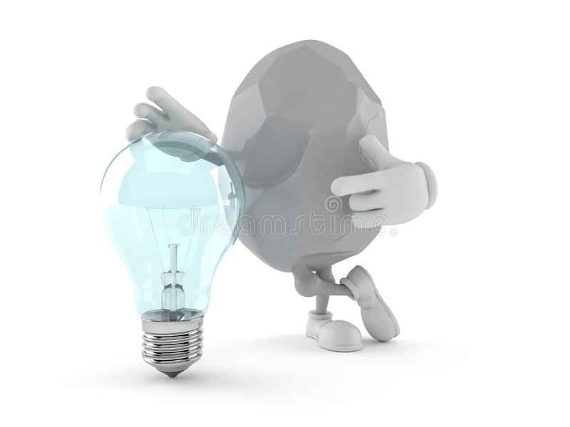 Rock character with light bulb stock illustration