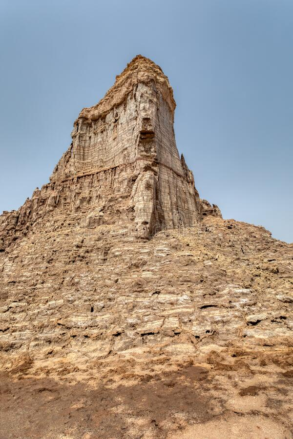 Rock city in Danakil depression, Ethiopia, Africa. High rock formations rise in the Danakil depression like stone rock city. Landscape like Moonscape, Danakil stock images