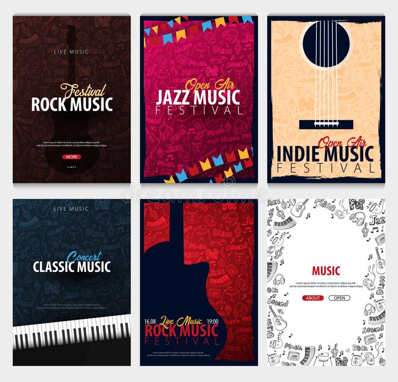 Rock, Classic, Indie, Jazz Music Festival. Open Air. Set of Flyers design Template with hand-draw doodle on the background. stock illustration