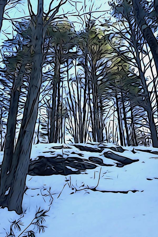 Snow-covered rock cliff in wilderness winter forest of evergreens royalty free stock photo