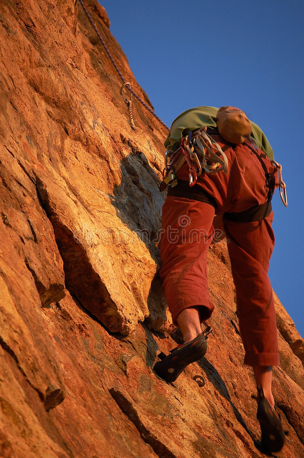 Rock Climber in Action royalty free stock photo